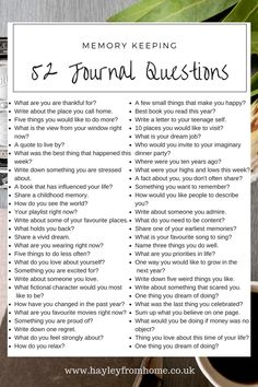 52 Journal Questions For The Bullet Journal - Hayley from Home Project Life La. - - 52 Journal Questions For The Bullet Journal – Hayley from Home Project Life Lauren B Montana My Journal, Journal Pages, Memory Journal, Therapy Journal, Keeping A Journal, Journal Diary, Happy Journal, House Journal, Dream Journal