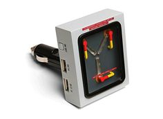 Ever wish you had a working Flux Capacitor in your ordinary car? You may not be able to time travel but you can at least charge your devices while you travel!