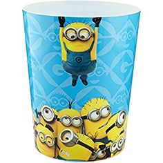 """Adorable, Easy to Clean Universal's Minions 8"""" x 10"""" Waste Basket, Blue"""