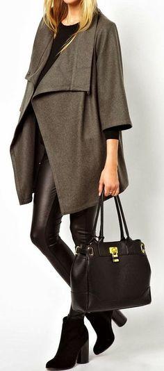 Amazing Fall Fashion-Amazing Long Grey Coat,Black Leather Tight ,Black Leather Hanbag Ad Amazing Hi-heeled Boats