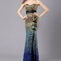 Strapless sequence mermaid evening dress