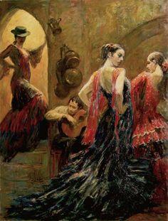 Flamenco in SevillePainting by Alexander Sheversky (http://www.sheversky.com/category-figurative.htm) - Ballet, балет, Ballerina, Балерина, Dancer, Danse, Танцуйте, Dancing