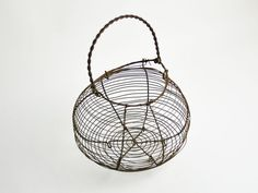 TAKE 10% OFF: Antique French Wire Egg Basket by CandleLibrary