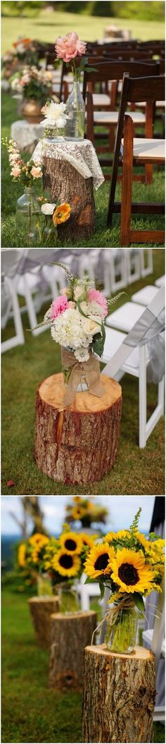 rustic tree stump wedding aisle decor ideas / http://www.deerpearlflowers.com/rustic-woodsy-wedding-trend-tree-stump/ #rustic #rusticwedding #countrywedding #weddingideas #wedding #dpf #deerpearlflowers