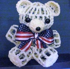 Patriotic Crochet Bear - my mom makes these!!