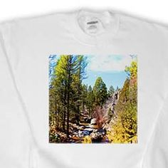 View of River in Pine Valley, Utah Flowing Through Trees and of Green and Yellow on Blue Sky Sweatshirt