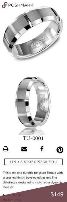 Tungsten Carbide men's wedding band ring Torque Stunning Tungsten Carbide men's wedding band ring from Torque by CrownRing. Size 10. 7mm. NWT. TU-0001 CrownRing Accessories Jewelry