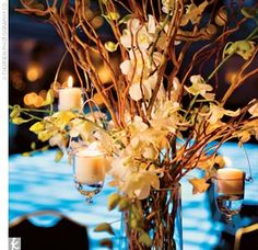 Tall Dried Branch Centerpieces : wedding branch curly willow manzanita tall centerpieces Willow with Flowers Curly Willow Centerpieces, Tree Branch Centerpieces, Wedding Reception Centerpieces, Wedding Arrangements, Floral Arrangements, Wedding Decorations, Centerpiece Ideas, Candle Centerpieces, Centrepieces