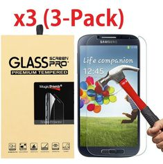 3-Pack Tempered Glass Screen Protector for Samsung Galaxy S3 S4 S5 Note 2 3 4 5 - Galaxy S4