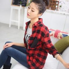 Faux-Leather Pocket Gingham Shirt from #YesStyle <3 59 Seconds YesStyle.com