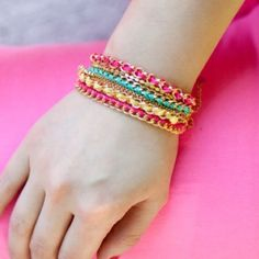 Pink Double Chain Pink Friendship Bracelet Double chain Pink friendship bracelet by T&J Designs | Material: gold plated base metals, thread, crystals | nickel and lead free T&J Designs Jewelry Bracelets