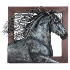 Frisian Horse Art  At the center of this collection is a huge piece of art. The horse is all metal and all movement. The dark color of the piece blends well with this set. Looking for art that no one else has? This horse will stand proud on your wall to tell your guests you're a one-of-a-kind!
