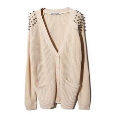 Beige Chunky Knitted V-Neckline Cardigan With Rivet Embellished... ($78) ❤ liked on Polyvore