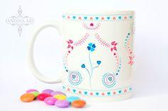 """Ceramic mug """"FOLK - FLOWER"""", 11 oz, folk design ornaments by janinnaART on Etsy"""