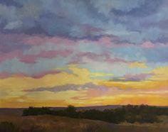 Pam Holnback: Early Morning.  Oil painting, sunrise, sky, landscape, Colorado