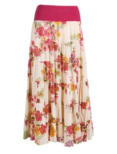 Gypsy skirt in long tiered floral print.