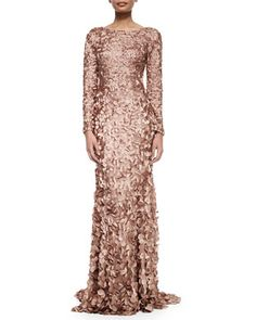Long-Sleeve Petal Mermaid Gown, Tawny by Theia at Neiman Marcus. Look closely at the detail. Its an amazing gown