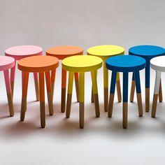 The Wool Acorn: Painted stools Dipped Furniture, Painted Furniture, Diy Furniture, Furniture Movers, Plywood Furniture, Modern Furniture, Furniture Design, Painted Stools, Wooden Stools