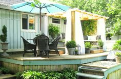 Seen here: donna reyne: On the deck, my quiet place Deck Building Plans, Building A Porch, Screened In Porch, Porch Swing, Porch Kits, Raised Deck, Outdoor Spaces, Outdoor Decor, Outdoor Living