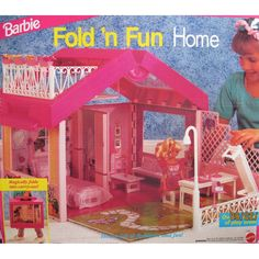Amazon.com: Barbie FOLD 'N FUN HOME Playset - HOUSE w Street LIGHT, Furniture & Over 4 Sq. Feet of Play Area (1992): Toys & Games