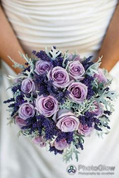 Beautiful Bridal Bouquet Showcasing: Blue-Violet Lavender, Lavender Roses, & Lace Leaf Dusty Miller****