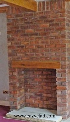 Eazyclad thin Brick slips used to create a fire place and chimney Breast Brick Chimney Breast, Chimney Decor, Brick Cladding, Thin Brick, Brick Tiles, Exposed Brick, Home Staging, Interior Design Living Room, Beautiful Homes