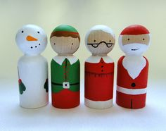 Here are Santa and friends in the wonderfully small peg size that children love to play with. You will receive Santa, Mrs. Claus, one sweet elf and