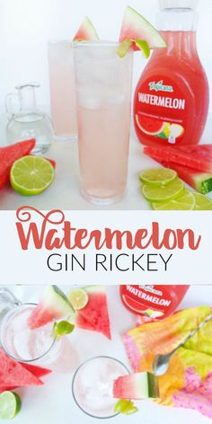 A recipe for a light, low ingredient, and blush colored cocktail called a Watermelon Gin Rickey made with Tropicana Watermelon. Gin Drink Recipes, Gin Cocktail Recipes, Vodka Drinks, Sangria Recipes, Easy Cocktails, Punch Recipes, Summer Cocktails, Vodka Martini, Colorful Cocktails