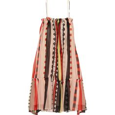 APIECE APART Dafni striped silk dress found on Polyvore featuring dresses, print dresses, silk dress, strap dress, slimming dresses and strappy dress