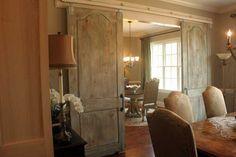 rustic sliding barn doors in dining room