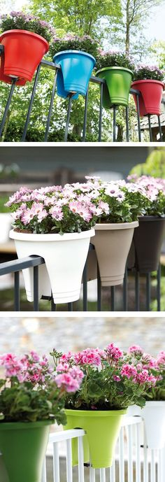Bridge planters // a perfect space-saving way to add plants to your balcony! The innovative design hugs the railing #product_design #industrial_design