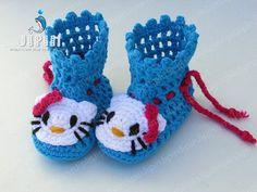 Hello Kitty Baby Booties Crochet Pattern