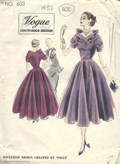 1951 Vintage VOGUE Sewing Pattern B30 DRESS (1428R) #Vogue