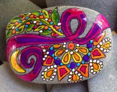 Harvest Moon / painted rock / Sandi Pike Foundas / beach stone from Cape Cod