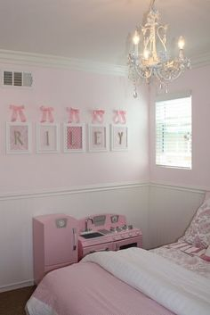 E's room -White frames, scrapbook paper, ribbon, letters dunn edwards just pink enough- paint Little Girl Bedrooms, Pink Bedroom For Girls, Pink Bedrooms, Big Girl Rooms, Light Pink Girls Bedroom, Diy Little Girls Room, Baby Girl Bedroom Ideas, Kids Rooms, Kids Bedroom