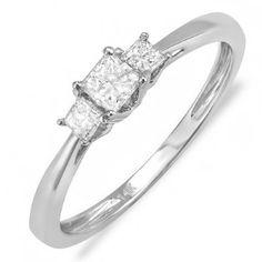 Love! 0.50 Carat (ctw) 14k White Gold Princess Diamond Ladies Bridal 3 Stone Ring Engagement 1/2: Jewelry