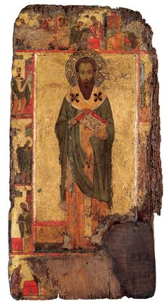 Saint Basil with Scenes from His Life, century Byzantine Cyprus or Egypt, Sinai Tempera and gold leaf on wood 26 × 13 × 1 in. Byzantine Icons, Byzantine Art, Lives Of The Saints, Leaf Projects, Paint Icon, St Basil's, Religious Icons, Fashion Painting, Orthodox Icons