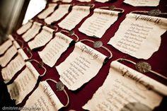 Medieval scrolls -- wedding reception seating assignments Keywords: #medievalweddingscrolls #jevel #jevelweddingplanning Follow Us:  www.jevelweddingplanning.com www.pinterest.com/jevelwedding/  www.facebook.com/jevelweddingplanning/ idée plan de table
