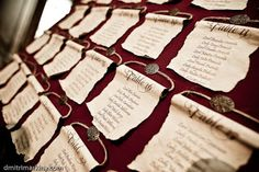 Medieval scrolls -- wedding reception seating assignments Keywords: #medievalweddingscrolls #jevel #jevelweddingplanning Follow Us: www.jevelweddingplanning.com www.pinterest.com/jevelwedding/ www.facebook.com/jevelweddingplanning/