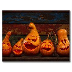 Scary Jack O Lantern Halloween pumpkins in darkness by Wallenrock, via ShutterStock Halloween Jack, Halloween Cards, Holidays Halloween, Halloween Pumpkins, Happy Halloween, Courge Halloween, Jack O'lantern, Pumkin Carving, Pumpkin Art