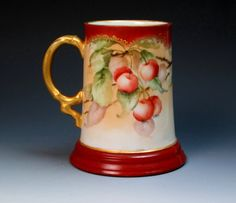 Antique Hand Painted Signed Limoges Mug with Cherries, Jean Pouyat (ca 1905+), Porcelain Tankard