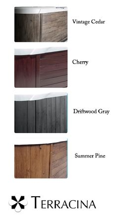 Choose from 4 beautiful hot tub skirt colors exclusive from Dimension One Spas.
