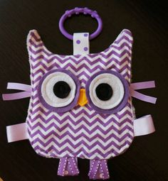 Huggable baby owl crinkle toy, totally customizable. Pick your front fabric.
