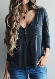 »Stylish Plunging Neck Solid Color Long Sleeve T-Shirt« #fashion #fashionandaccessories #nastydress