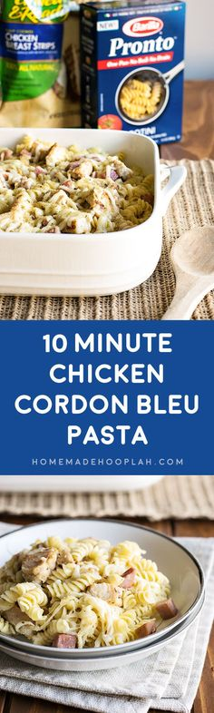 Whip up a complete dinner of chicken cordon bleu pasta in 10 minutes with Barilla's Pronto Pasta and Tyson's Fully Cooked Chicken Breast Strips! How To Cook Chicken, Cooked Chicken, Turkey Recipes, Chicken Recipes, Chicken Cordon Bleu Pasta, Crockpot Recipes, Cooking Recipes, Homemade Pasta, Entree Recipes