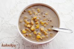 """Bubur Jagung"" or in English Sweet Corn Broth is cooked with coconut milk and palm sugar. You may add sweet potatoes and sagu to thicken the broth to your liking"