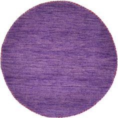 Unique Loom Solid Gabbeh Purple 2 ft. 4 in. x 2 ft. 4 in. Round Area Rug