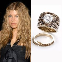 "H. Stern custom designed Fergie's four-carat ""Stars"" ring, which has a brilliant cut diamond surrounded by stones in varying colors."