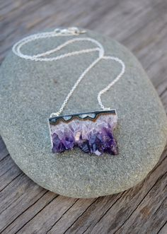 Amethyst Stone Slice Necklace Raw Crystal by HalfMoonFusion