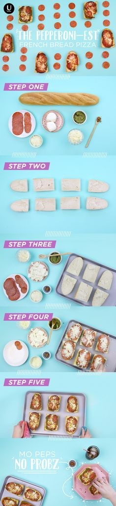 Make your own French bread pizza. Try making with Jimmy John's Day Old Bread!